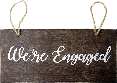 JennyGems - We're Engaged - Elegant Wood Engagement Photo Prop Sign - Engagement Announcement Keepsake Sign - Engagement Announcement Photoshoot Sign - Engagement Party Decoration, 13 x 6 Made in USA