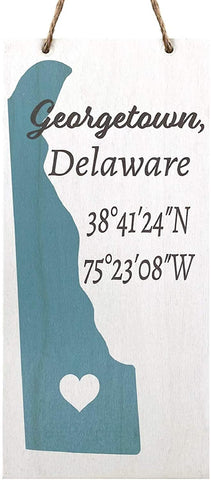 JennyGems Georgetown, Delaware Nautical Real Wood Sign | Made in USA