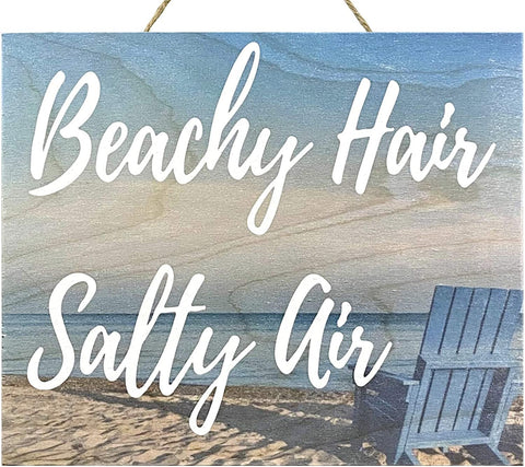 JennyGems Beachy Hair Salty Air | Real Wood Sign | Beach House Sign | Bathroom Beach | Coastal Decor | Made in USA