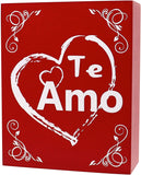 JennyGems Te Amo Gift - I Love You Gifts For Her, Wood Sign Spanish Language I Love You, Te Amo Regalo - Amar - Te Quiero - Signo de Regalo - Valentines Gifts