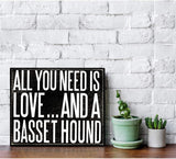 JennyGems - All You Need is Love and a Basset Hound- Wooden Stand Up Box Sign - Basset Hound Gift Series, Basset Hound Moms, Basset Hound Lovers, Shelf Knick Knacks
