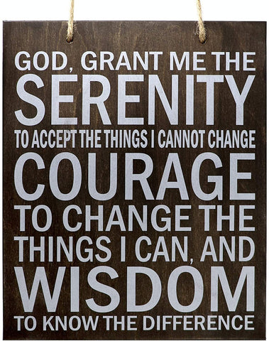 JennyGems - Serenity Prayer Wood Sign - Rustic Wall Hanging Sign - Serenity Motivational Wood Plaque Signs - Serenity Prayer Plaque -Made in USA