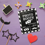 JennyGems Photo Booth Prop Sign - Wood Wedding, Party & Special Event Sign - Step Right Up to The Photo Booth - Vintage Chalk Style Photobooth Prop and Decor