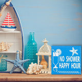 JennyGems Stand Up Wood Funny Beach House or Bar Sign - No Shower Happy Hour - Tiki Bar Decor - Bar Decorations for Wall, Shelf Knick Knacks