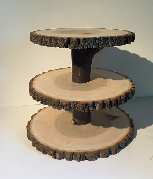 3 Tier Rustic wedding cupcake stand, wood slice display stand, woodland