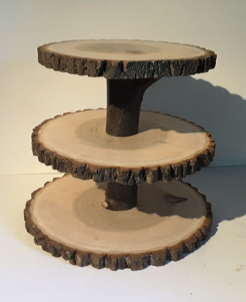 Relatively 3 Tier Rustic wedding cupcake stand, wood slice display stand  WD46