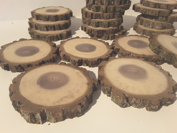 "Set of (10) Black Walnut wood slices, 3.75""-4"" rustic Craft, christmas ornaments"