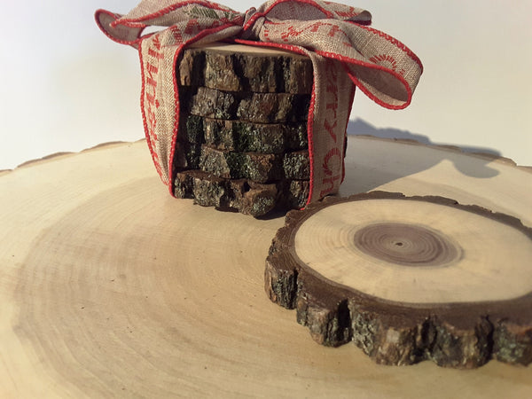Set of 5 Black Walnut wood slice coasters, woodland decor, rustic wedding gift,