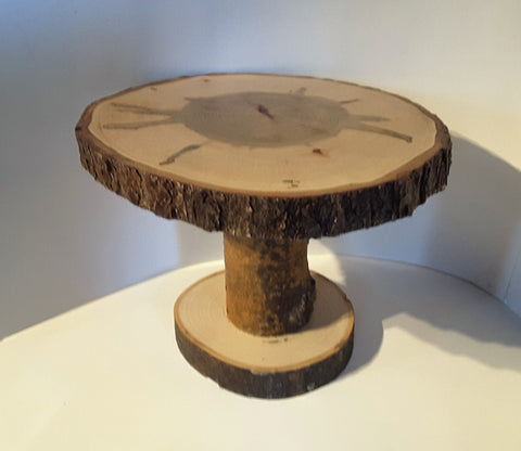 "13"" by 12"" Maple wood slab cake stand, table display stand, center piece"