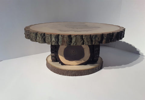 "12""-12.5"" Rustic tree slice display stand, centerpiece, cake stand, Wedding"