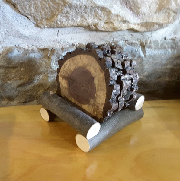 Set of 4 large Black Walnut coaster and log holder