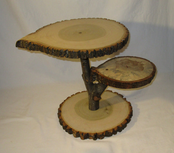 Rustic tree slice display stand, plant stand, wedding decor, dessert display