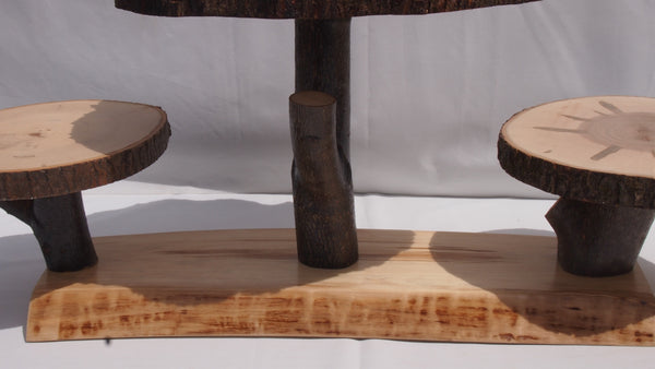 Large Tree slice display stand, Rustic cake/cupcake stand, wedding dessert stand, food server
