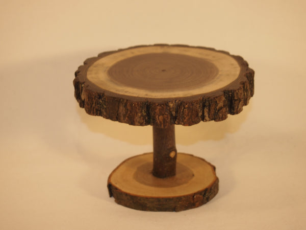 "5"" Pedestal stand, rustic wood slice display stand, plant stand,"