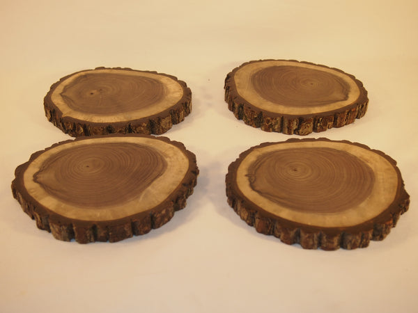"4 Black Walnut wood slices, 6"" by 7"" finished tree slices, rustic decor"