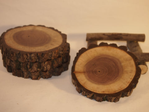 Rustic coaster set w/ log stand, Black Walnut log slice