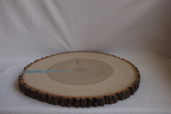 "15"" Poplar tree slice w/ blue crack filler, centerpiece, plant stand, candle holder"