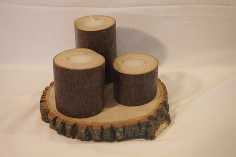 Rustic Log candle centerpiece, Log candle display, woodland decor