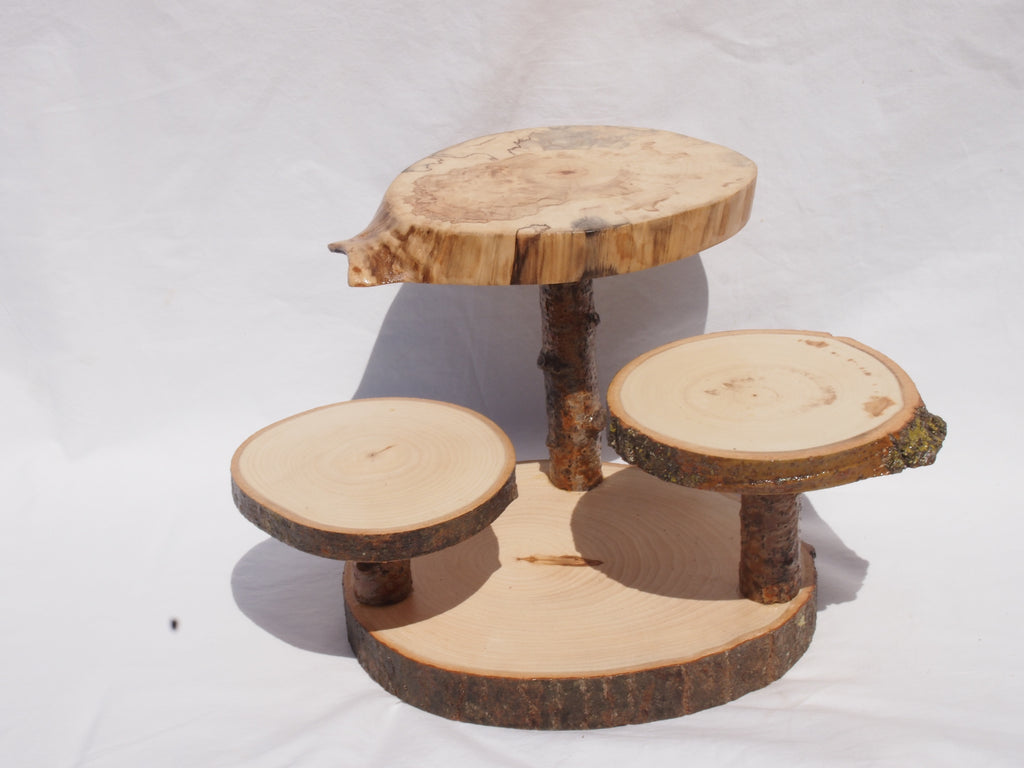 unique wood slice display stand, 3 levels, centerpiece, tree slice plant stand