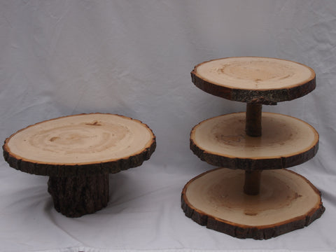 "Rustic dessert displays stands,3 tier Cupcake stand and a 13"" by 14"" cake stand,"