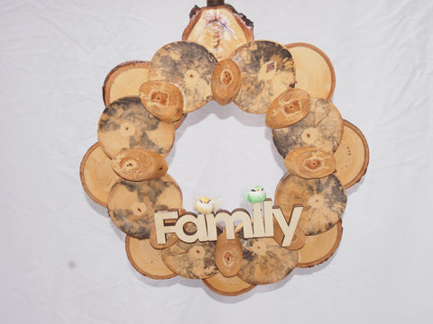 Rustic wood slice wreath, door wreath, fall, spring, Christmas wreath