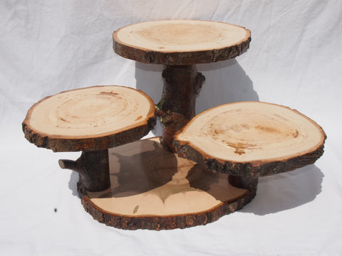 4 tier Aspen & Maple tree slice display stand, woodland event or home decor