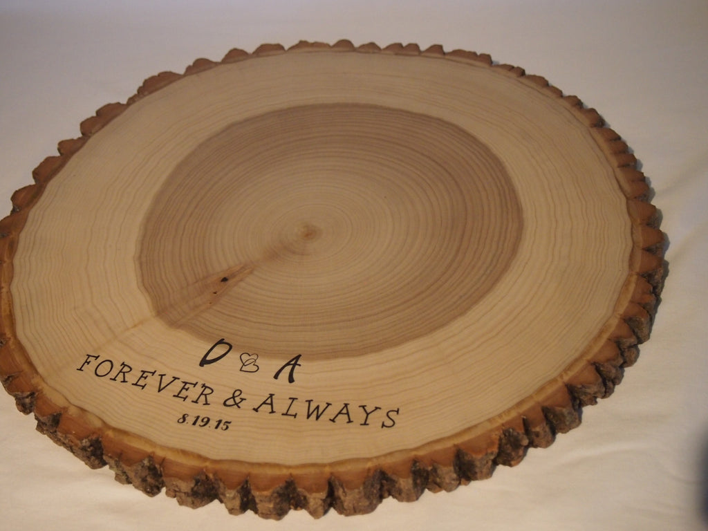 "17"" Personalized  tree slice display stand, rustic wedding, cake stand, centerpiece"
