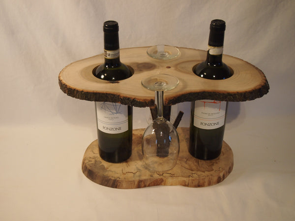 Rustic wine bottle & glass display stand, table centerpiece, party display