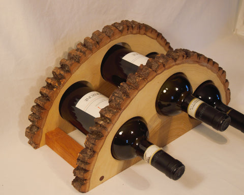 Wood slice wine rack, 3 bottle holder, table/shelf wine bottle holder