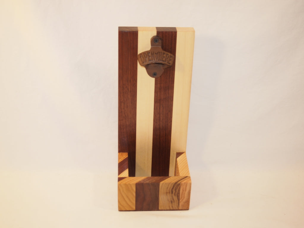 Large Beer bottle opener, Multi-wood wall mounted bottle opener