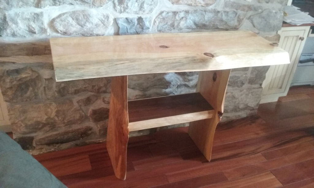 "Rustic live Edge Table, 15"" by 48""  Hallway Table, End Table, Cabin Decor"