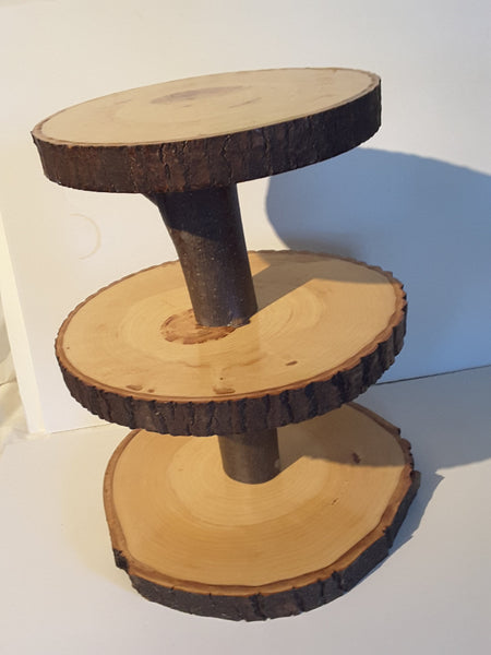 3 tier rustic cupcake stand, rustic wedding stand, tree display Stand