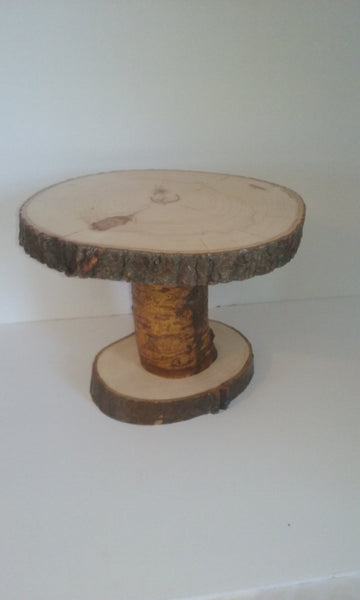 Tree slice pedestal stand, wood slice display stand, cake holder, rustic wedding decor