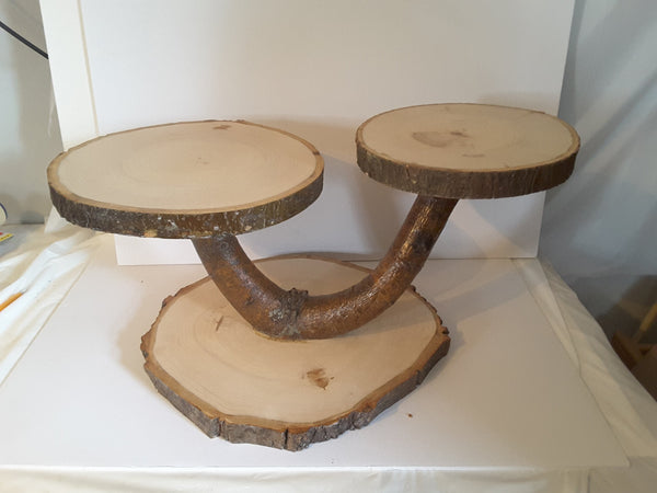 Very large tree slice cupcake stand, rustic wedding cake stand, treat display stand centerPiece