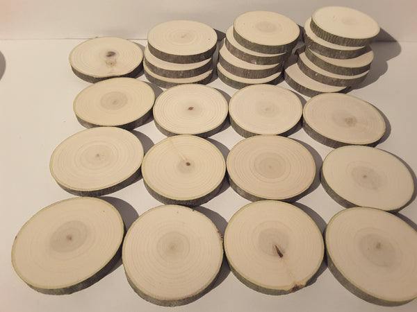 "25  Poplar wood slices, 3.25- 3.5"" log slices, rustic craft supplies, table numbers"