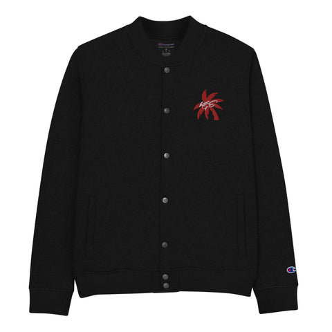 (New) Red Palm Tree KGE Signature Embroidered Champion Bomber Jacket