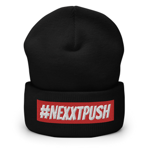 (New) #Nexxtpush Red Bar Cuffed Beanie
