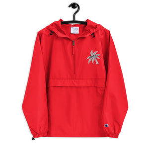 (New) White KGE Palm Paradise Embroidered Champion Packable Jacket
