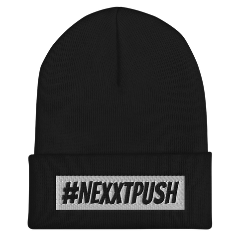 #Nexxtpush White Bar Black Letters Cuffed Beanie