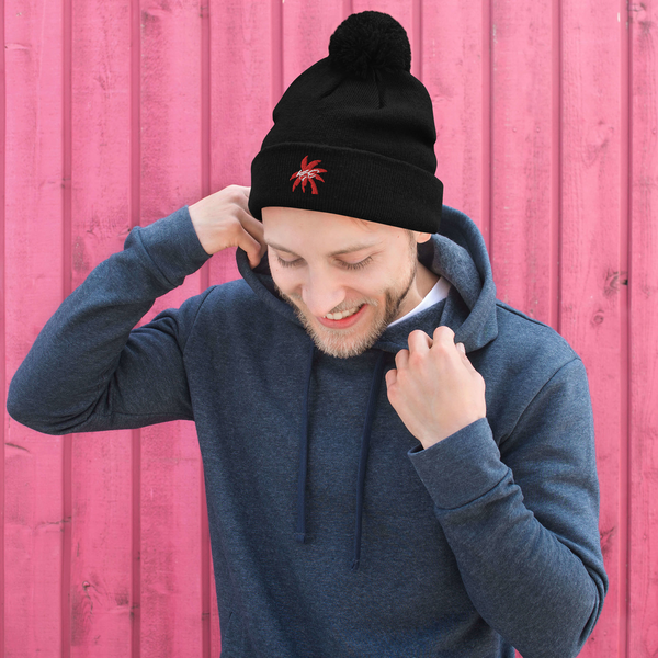 Red Palm Tree KGE Signature Pom-Pom Beanie