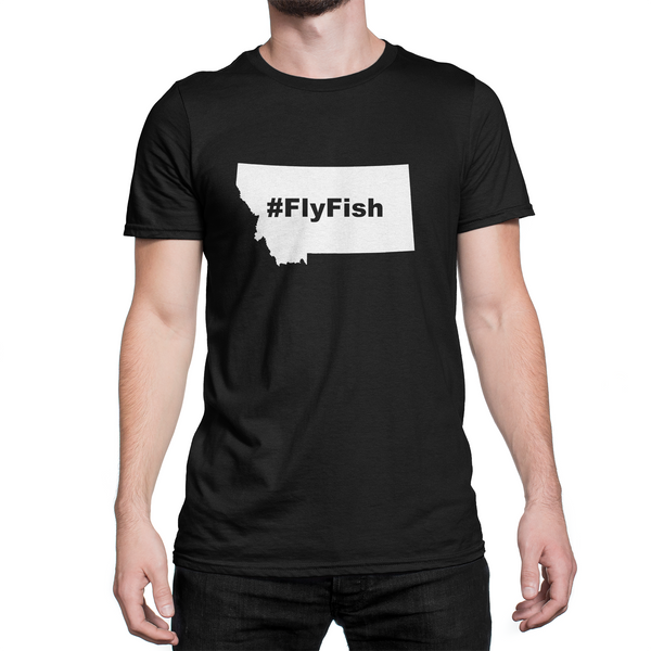Montana Fly Fish Hashtag Shirt Black