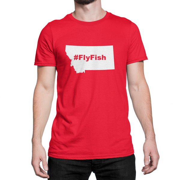 Montana Fly Fish Hashtag Shirt Red