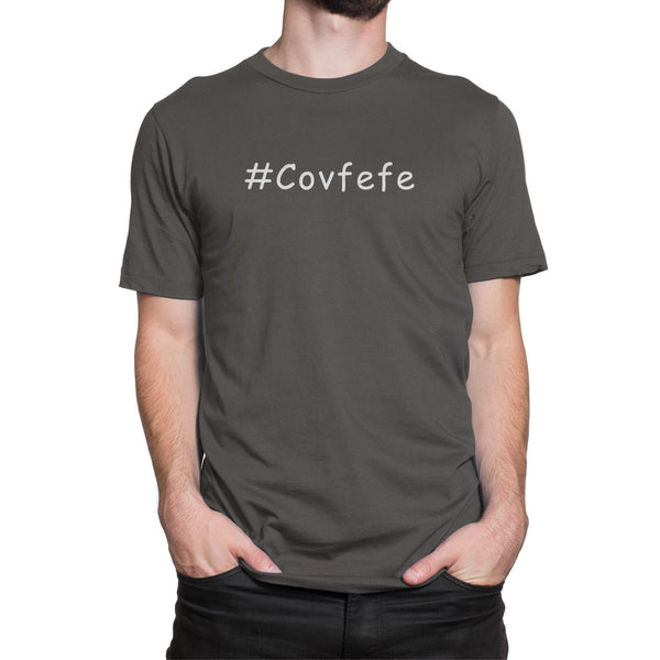 #Covfefe Political Hashtag Shirt Gray