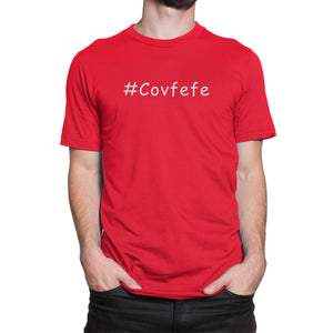 #Covfefe Political Hashtag Shirt Red