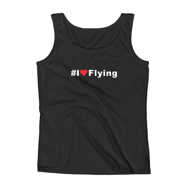 I Love Flying Hashtag Womens Tank Top Black