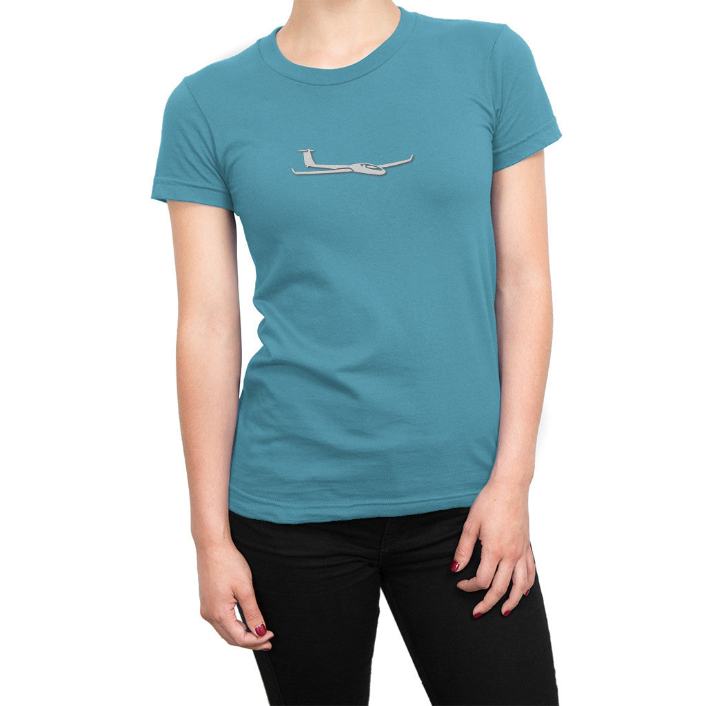 Womens Soaring Glider Airplane Shirt Light Blue