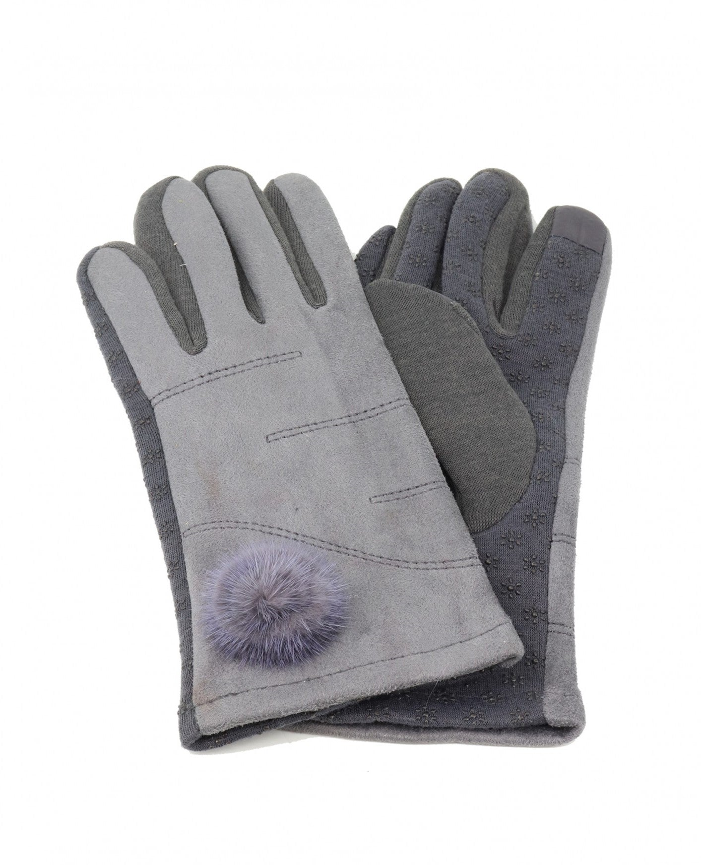 Touch Screen Glove Grey - Mink Pom Pom