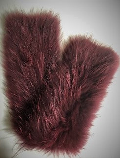 Burgundy Dyed Knitted Finn Raccoon Scarf
