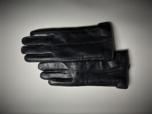 Men's Sheepskin Lined Lamb Leather Gloves Black