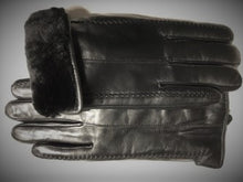 Load image into Gallery viewer, Men's Sheepskin Lined Lamb Leather Gloves Black
